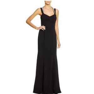Black Jewel Double Strap Halter Trumpet Gown